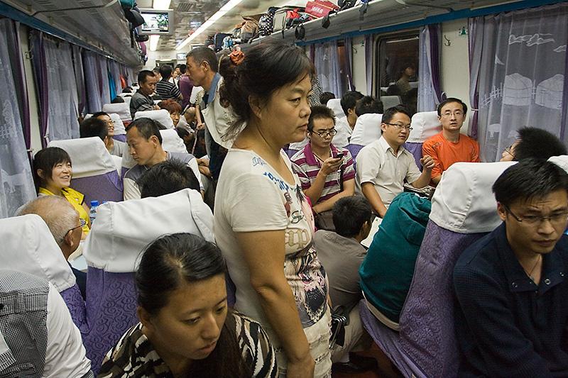 Hard seat w chińskim pociągu, K263, Chiny