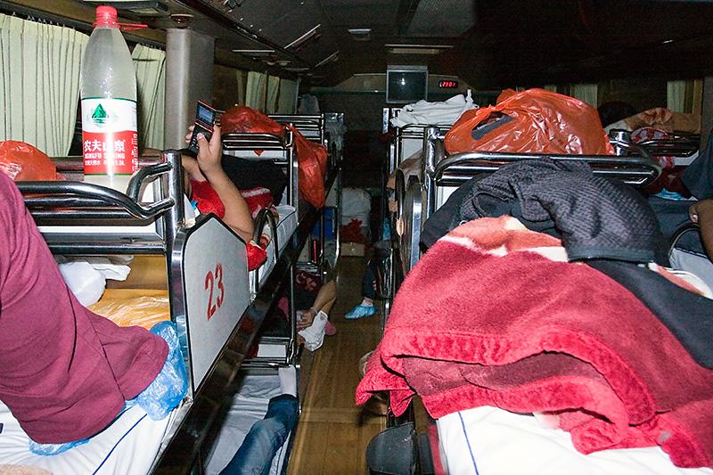 Autobus sypialny w środku, Luoyang, Chiny